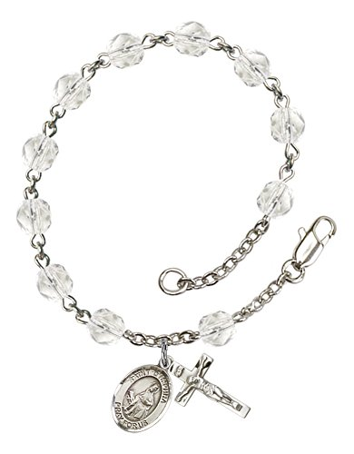 Solid Silver-Plated Rosary Bracelet 6Mm Crystal Fire Polished Beads Religious Cross Crucifix 5/8 X 1/4 Charm A St. Saint Dymphna Medal Pendant Necklace Rosaries