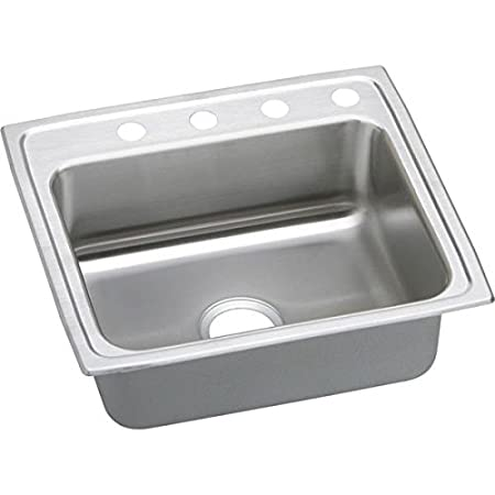 Elkay PSR25224 4-Hole Gourmet 22-Inch x 25-Inch Single Basin Drop-Inch Stainless Steel Kitchen Sink