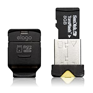 elago Mobile Nano II USB 2.0 microSDHC Flash Memory Card Reader -Works up to 32GB- (Black)
