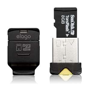 elago Mobile Nano II USB 2.0 microSDHC Flash Memory Card Reader -Works up to 32GB- (Black)