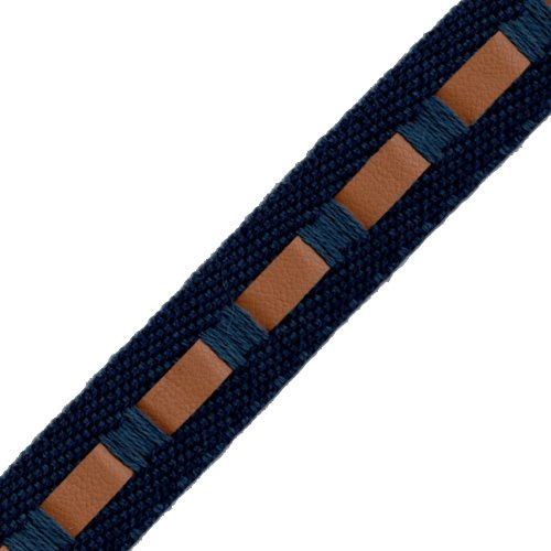 Venus Ribbon 12934-A 5/8-Inch Twill/Leather Pull Through Trim, 5-Yard
