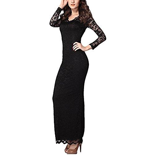 Djt Women'S Evening Party Cocktail Lace Wrap V-Neck Gown Long Maxi Dress Black L