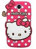 JBG Cartoon Skin Cute Soft Silicone Polka Dots Cover Case Heart Pendant For Samsung Galaxy S4 mini i9190 Hot Pink