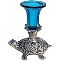 Handicrafts Paradise Candle Holder In Glass With Metal Tortoise Base
