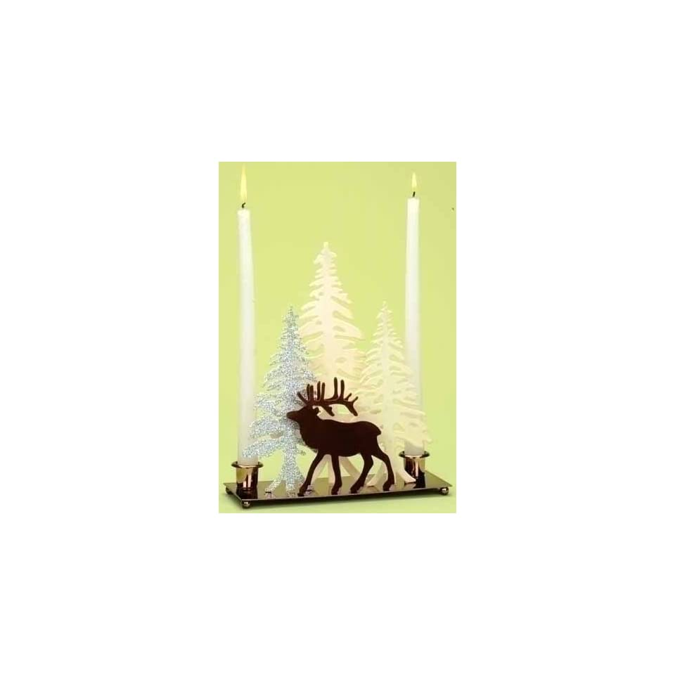 10 Home for the Holidays Deer with Winter Scene Christmas Candle Holder