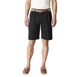 Dockers Men\'s Pleated Microfiber Shorts Black 30