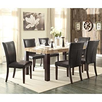 Homelegance Robins 7 Piece Faux Marble Top Dining Room Set In Dark Cherry