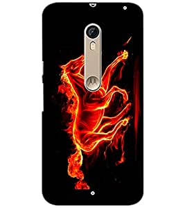 PrintDhaba Horse on Fire D-1189 Back Case Cover for MOTOROLA MOTO X STYLE (Multi-Coloured)