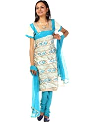 Exotic India Turquoise And Ivory Gota Salwar Suit With All-Over Embr - Turquoise