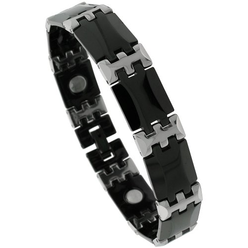 Sabrina Silver Tungsten & Ceramic 2-Tone (Black & Gun Metal) Bar Link Magnetic Bracelet, 1/2 in. (13mm) wide (BTN137)