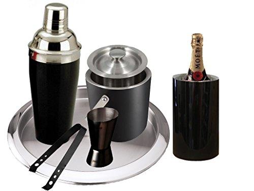 King International Stainless Steel Black Coloured Bar Set Set Of 6pcs / Ice Bucket/Bar Tray / Peg Measure/ Cocktail...