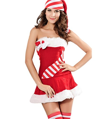 Eternatastic Women's Christmas Costumes Velvet Babydoll Dress (Naughty Santa Helper Outfits)