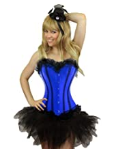 Yummy Bee Burlesque Corset & Tutu or Lace Skirt or Frilly Skirt Costume Ladies Deluxe Fancy Dress Plus Size 6-24 Blue Red Purple Pink Black (Women: 14-16, Blue + Tutu)
