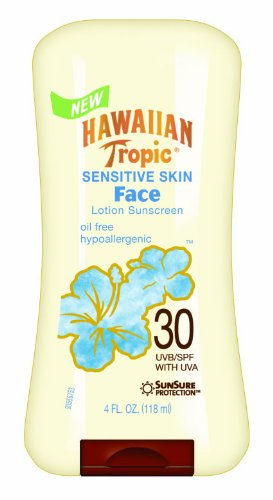 Hawaiian Tropic Sensitive Skin Oil Free Faces Sunblock Lotion - SPF 30, 4-Ounce Bottles (Pack of 2)
