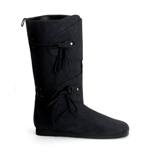 [RENAISSANCE-100, Men's Knee Boot, Black Imitation Suede-X-Large (14)] (Suede Renaissance Boot Costumes)