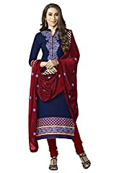 Naaidaakho Blue And Maroon Dress Material