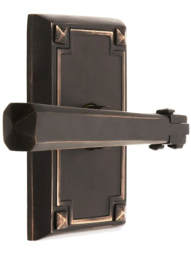 Craftsman Style Lever Door Set With Rectangular Rosettes Right Hand Privacy In Oil Rubbed Bronze. Door Hardware. front-765562