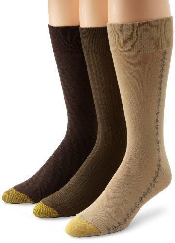 Gold Toe Men's Crew Fashion Patterned Dress 3-Pack Sock