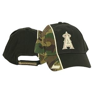Los Angeles Angels Adjustable Baseball Hat - Camouflage Black 2-Tone by MLB