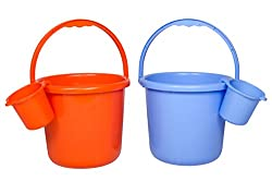 Saurabh Shaktiman Unbreakable Bucket & Mug Combo (Orange & Blue)