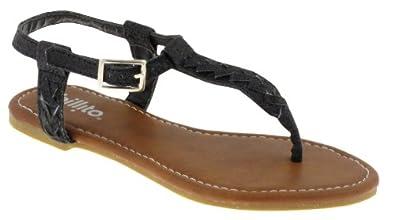 Billito Fine Glitter Faux Leather Braided T-Strap Girls Sandal Black 1/2