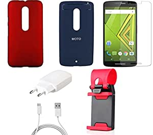 NIROSHA Tempered Glass Screen Guard Cover Case Charger Mobile Holder for Motorola Moto Xplay - Combo
