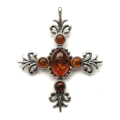 Newest Amber and Sterling Silver Cross Pendant