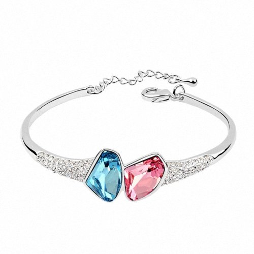 TAOTAOHAS- [ Search Name: Waterlike Youth ] (1PC) Crystallized Swarovski Elements Austria Crystal Bangle Bracelet, Made of Alloy Plated with 18K True Platinum / White Gold and Czech Rhinestone