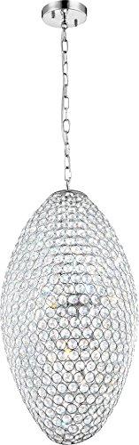 Dekorative Hängeleuchte chrom Kugel oval mit hochwertigen K9 Kristallen - Globo EMILIA 67012-8H
