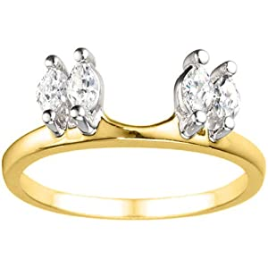 Two Tone Sterling Silver Solitaire Ring Wrap Enhancer (0.33 crt. Cubic Zirconia).