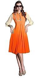 Khushali Presents Georgette Stitched Kurti With Charming Brooch (Orange)