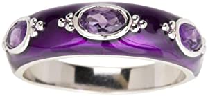 Sterling Silver Amethyst with Purple Enamel Women's Ring, Size 7