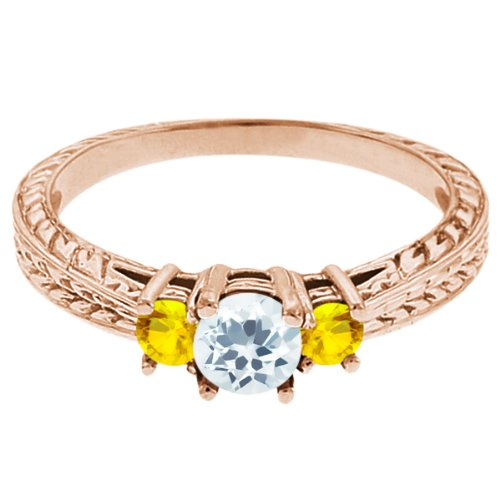 0.59 Ct Round Sky Blue Topaz Yellow Sapphire 14K Rose Gold 3-Stone Ring