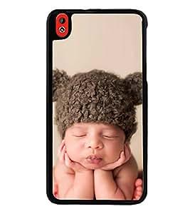 Cute Kid with Brown Cap 2D Hard Polycarbonate Designer Back Case Cover for HTC Desire 816 :: HTC Desire 816 Dual Sim :: HTC Desire 816G Dual Sim