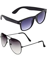 Unisex Uv Protected Combo Pack Of Aviator Sunglasses And Wyafarer Sunglasses ( Black Wayfarer - Black Shd Black...