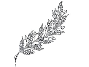 Feather Inspired Leaf Clear Crystal Rhinestone Sliver Tone Holiday Pin Brooch