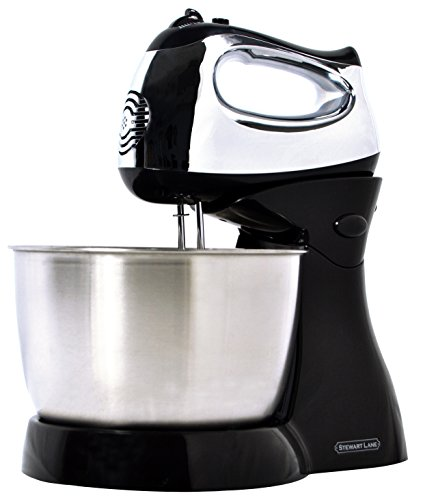 Stewart Lane Easy-To-Use (2-In-1) Tilt-Head Stand Mixer / Detachable Hand Mixer, Powerful 200-Watt 5-Speed Electric Motor, 3.2 Quart Stainless Steel Bowl 2 Chrome Beaters 2 Chrome Dough Kneading Hooks (Stand For Hand Mixer compare prices)