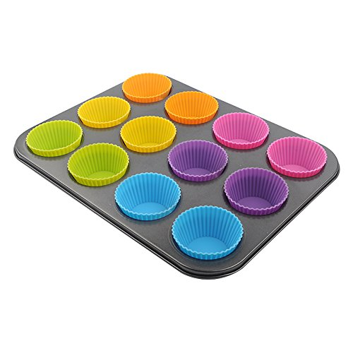 Goldenwide® Combo of Nonstick Bakeware 12-Cup Regular Muffin Pan and Silicone Baking Cups , 12 Reusable Vibrant Muffin Molds/Cupcake Liners /Mini Chocolate Holders/Truffle Cups, 6 Vibrant Colors Round