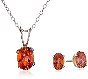 2.10 Ct Oval Azotic Ecstacy Topaz .925 Sterling Silver Earrings Pendant Set 18""
