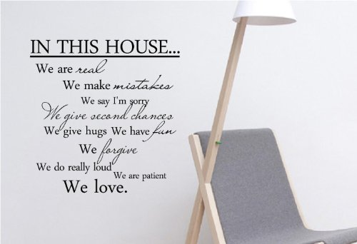 #3 In This House We Are Real We Make Mistakes We Say I'M Sorry We Give Hugs We Have Fun We Forgive We Do Really Loud We Are Patient We Love. Vinyl Wall Art Inspirational Quotes And Saying Home Decor Decal Sticker front-867340
