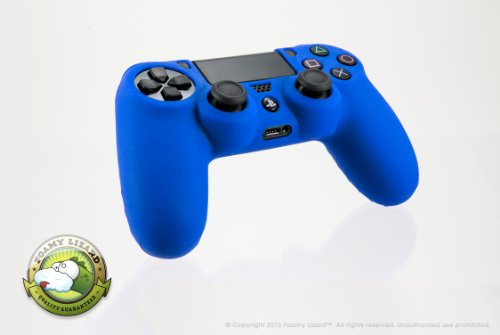 Playstation 4 Controller Skin By Foamy Lizard (Tm) [Memorial Day Sale] Chameleonskin (Individual) Premium Protective Anti-Slip Silicone Grip Case Cover For Wireless Ps4 Controller (Battle - Blue)