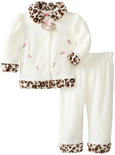 Young Hearts Baby-Girls Newborn 2 Piece Cat Polar Fleece Set, Vanilla, 3-6 Months front-914218