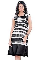 Trendif Women's Dress (1013BL_White Black_Large)