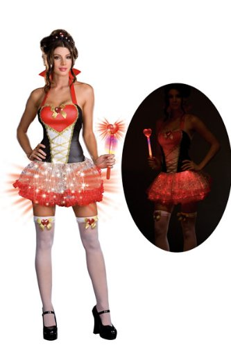 Sexy Queen of Hearts Costume with Fiber Optics - 5 Piece Set