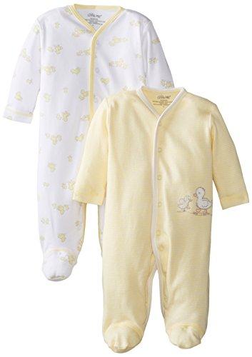 Little Me Unisex-Baby Newborn Ducks 2 Pack Footie, Yellow Multi, 3 Months front-912829
