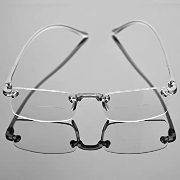 Rimless Fashion Glasses Clear X Bifocal Fashion Stylish