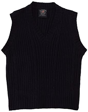 U.S. Polo Association School Uniform Little Boys' Cable Front Sweater Vest, Navy, 4