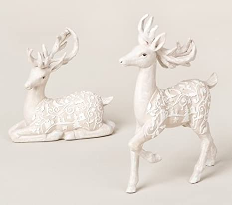 Winter Woods Resting Fawn Deer Christmas Table Top Figures - Set of 2 by Melrose