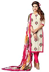 Be With Me Women's Chanderi Cotton White & Pink Striaght Cut Churidaar Suit- Dress Material