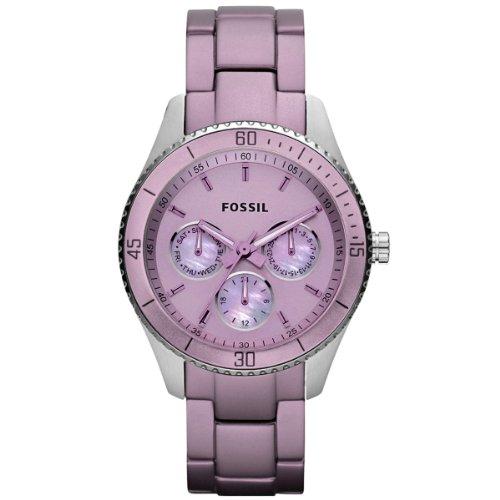 Fossil ES3038 - Reloj analógico de cuarzo para mujer con correa de aluminio, color morado